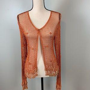 Ashley Stewart open weave cardigan/orange/size1X